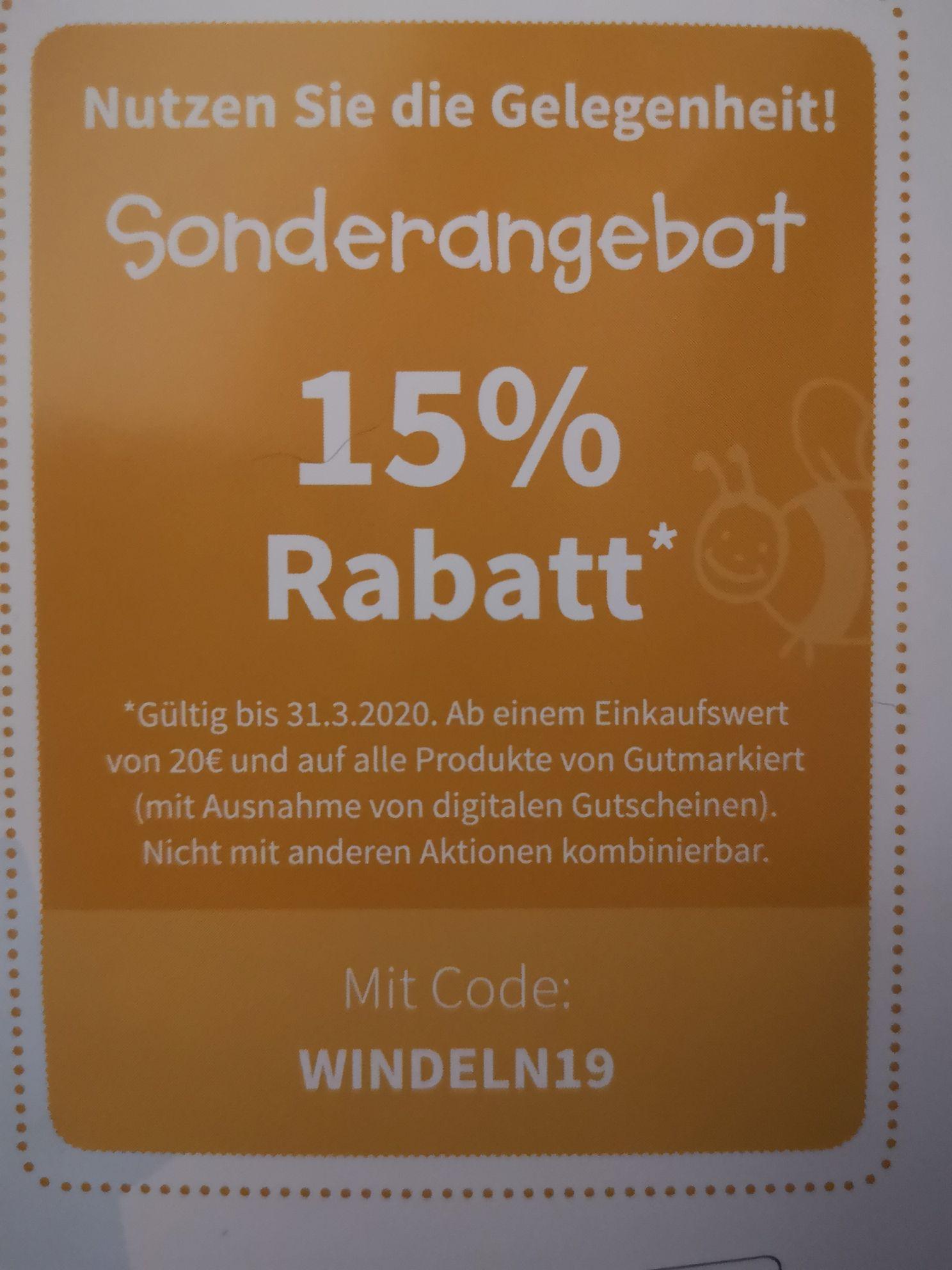 15% Rabatt bei gutmarkiert.de