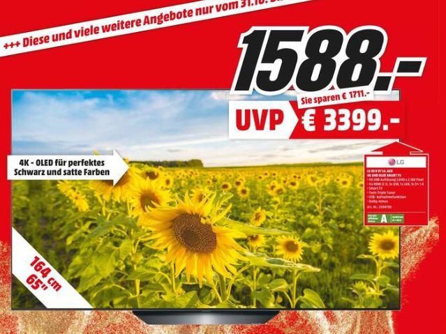 [Regional Mediamarkt Weiterstadt] LG OLED65B97LA OLED TV (Flat, 65 Zoll/164 cm, UHD 4K, SMART TV, webOS 4.5 (AI ThinQ)) für 1588,-€
