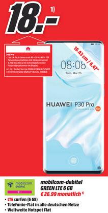 [Lokal Goslar] Huawei P30 Pro im Debitel Telekom (6GB LTE, Allnet) mtl. 26,99€ und einmalig 18€