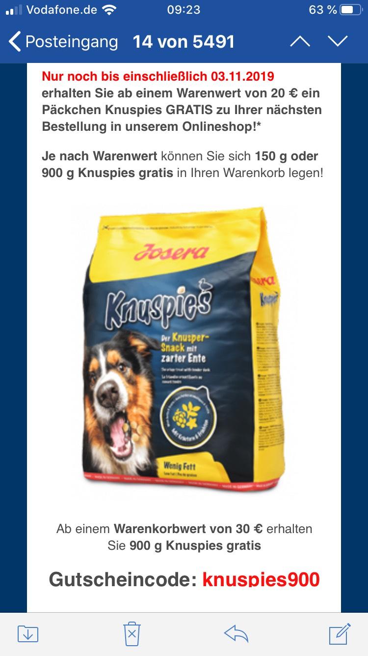 Hunde Leckerlis gratis ab 20€ Mbw bei Josera