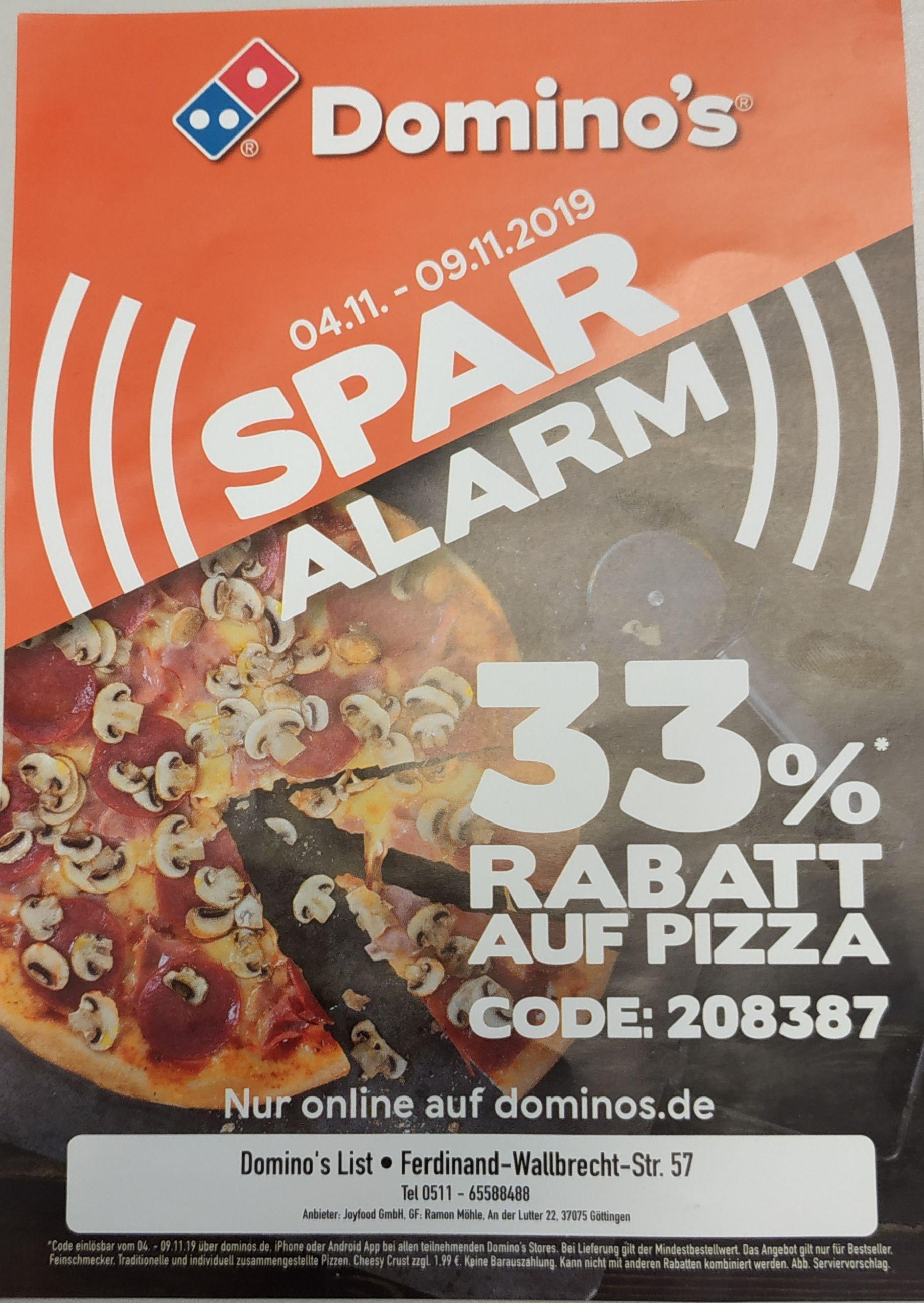 [ Dominos.de ] 33% Rabatt auf Pizza vom 04.11 bis 09.11