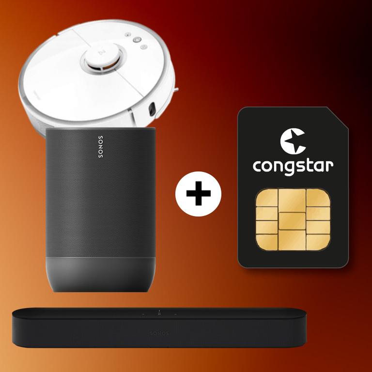 Congstar Allnet (10GB LTE, 50 Mbit/s) 25€ + Sonos Beam (43,99€ ZZ) od. Sonos Move (59€ ZZ) oder Xiaomi Roborock S50 für 4,95€ Zuzahlung