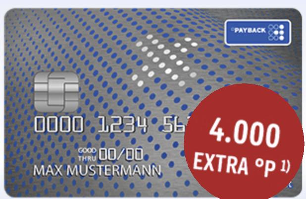 Wieder da! Payback VISA FLEX mit 4000°P = 40€, ohne Jahresgebühr, weltweit kostenlos Bargeld, ohne Fremdwährungsgebühr