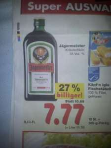 [LOKAL Essen] Jägermeister Kräuterlikör 35 Vol. % 0,7 L - FL ab 17.12 - 24.12 @ Kaufland
