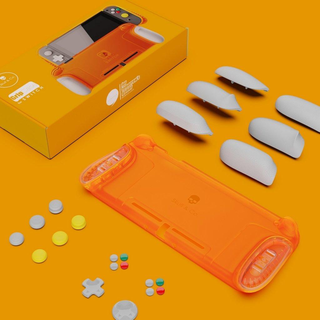 Skull & Co. NGC Orange Limited Edition GripCase For Nintendo Switch inkl. Analogstickaufsätze und Custom Buttons