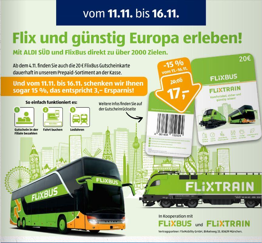 [Aldi-Süd und Nord vom 11.11 bis 16.11] 20€ Flixbus und Flixtrain Gutscheinkarte für 17,-€ (entspricht 15% Rabatt)