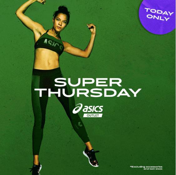 Asics Super Thursday - 1 Produkt: 10% Rabatt; 2 für 20% und 3 oder mehr für 30%