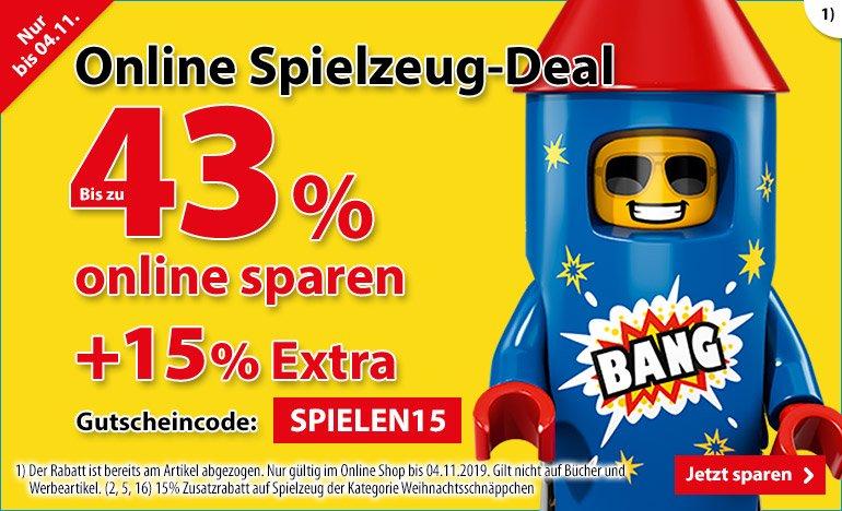 [SPIELE MAX Online] nochmal 15% Rabatt mit Gutschein-Code bis zum 04.11.2019 auf schon teilweise reduzierte Spielzeuge