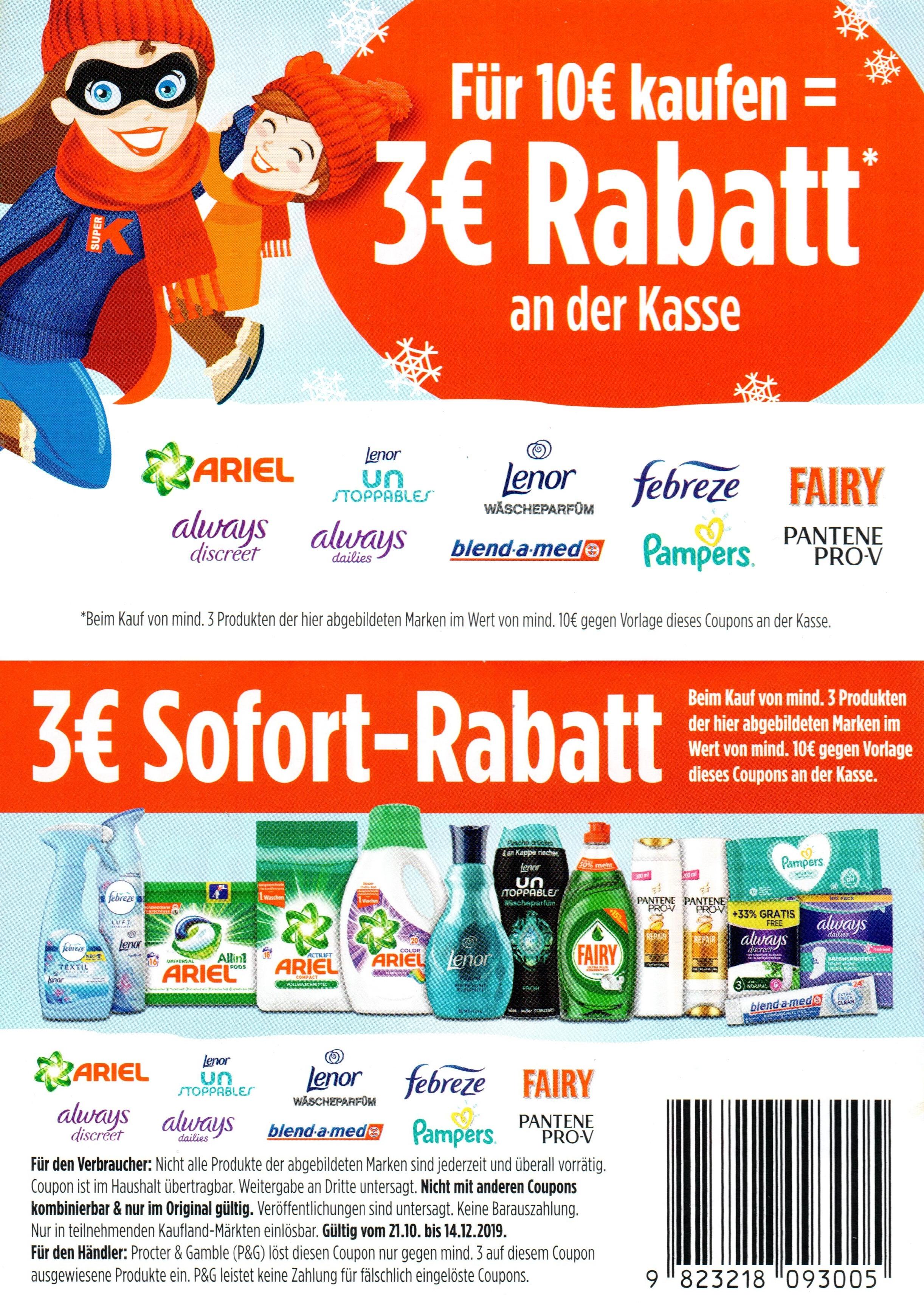 3€ ab 10€ Rabatt Coupon für P&G Marken bis 14.12.2019 bei Kaufland auch Pampers, blend-a-med, Ariel