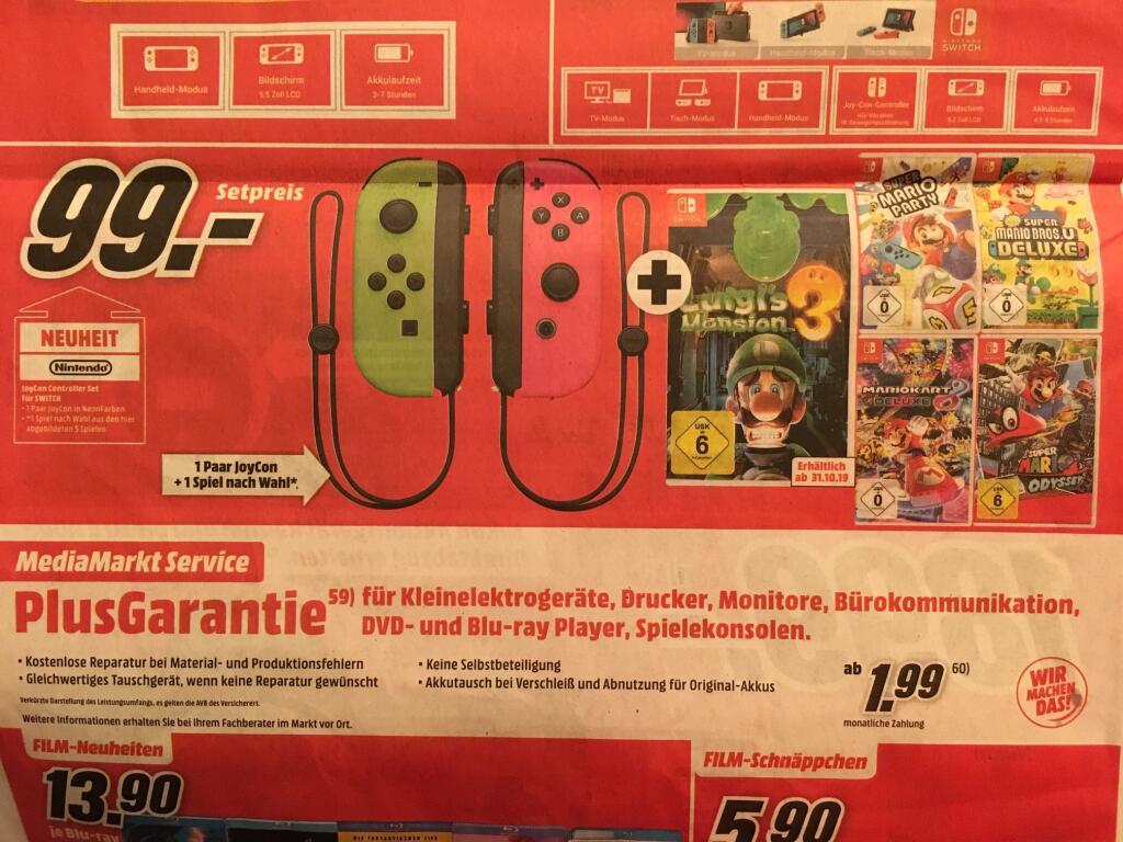 (Nintendo Switch) Joy-Con 2er Set + 1. Spiel nach Wahl - Für alle Ohne Mastercard - (Lokal Media Markt Region Stuttgart)
