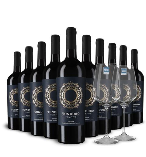 10 Flaschen Tondoro Primitivo 2018 + 2 Gläser gratis ,Versand gratis