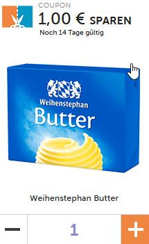 Couponplatz - Beim Kauf von zwei 250g-Packungen Weihenstephan Butter 1 Euro Rabatt