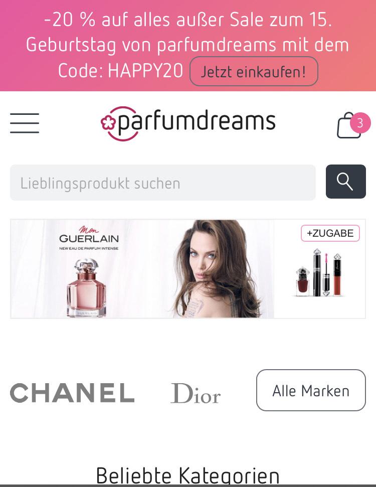 20% auf alles außer sale bei parfumdreams.de