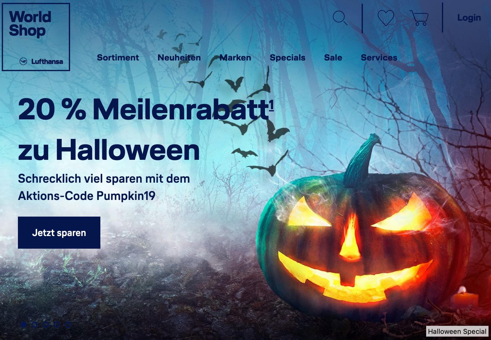 Miles & More World Shop: 20% Meilenrabatt zu Halloween