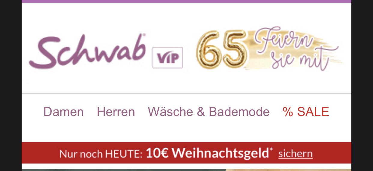 SCHWAB Onlineshop HEUTE: 10€ Weihnachtsgeld