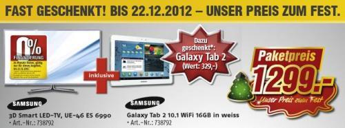Samsung UE46ES6990 kaufen und Galaxy Tab 2 10.1 16 GB WiFi dazu geschenkt bekommen!