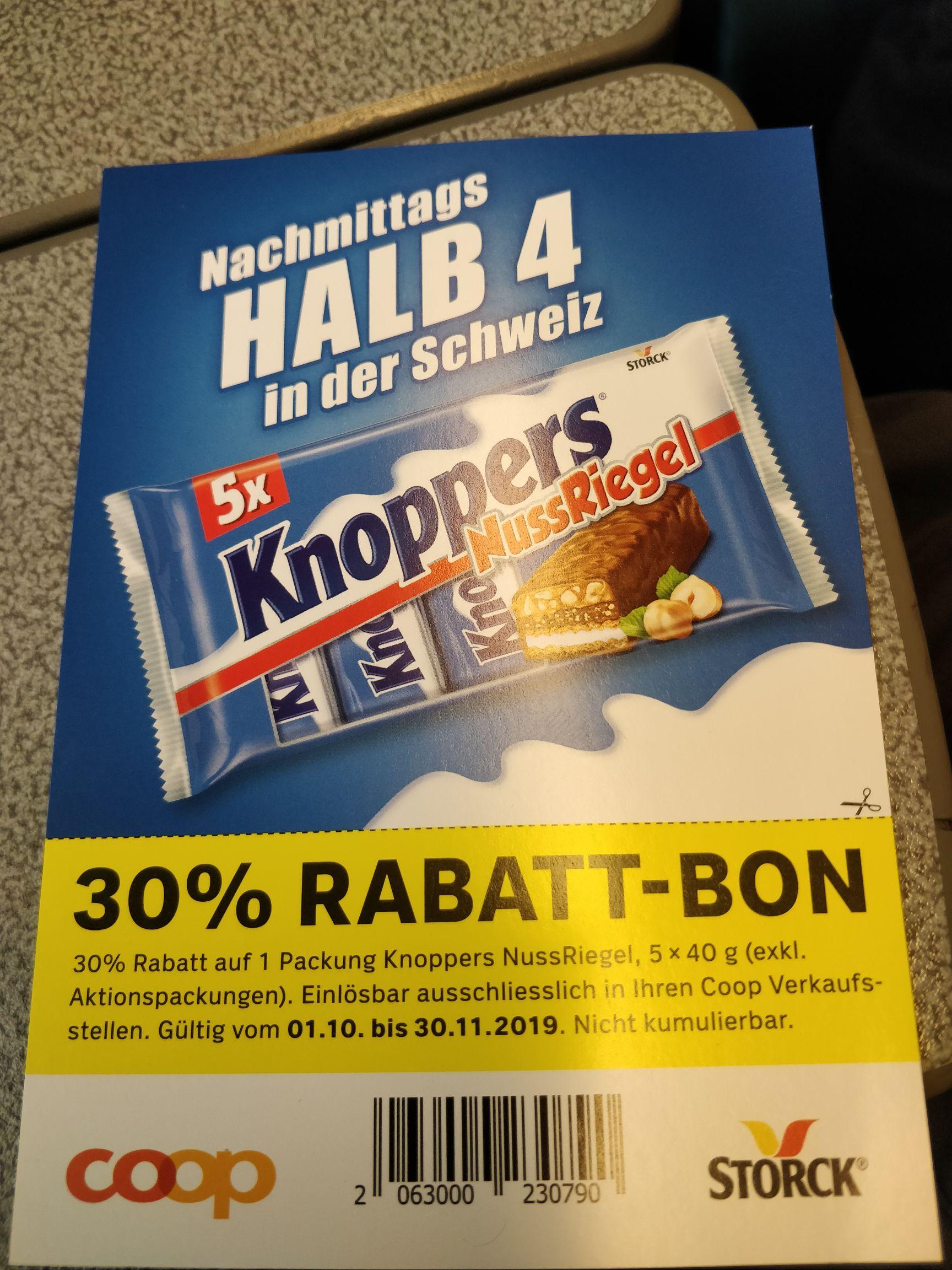 [Lokal CH, Coop] 30% Rabatt auf 1x Knoppers NussRiegel