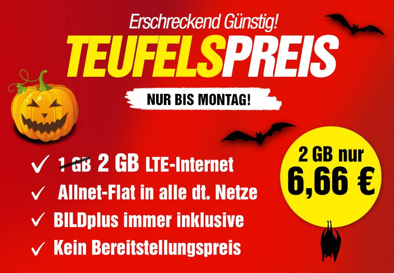 2GB, LTE Allnet Flat, O2 Netz inkl Bildplus