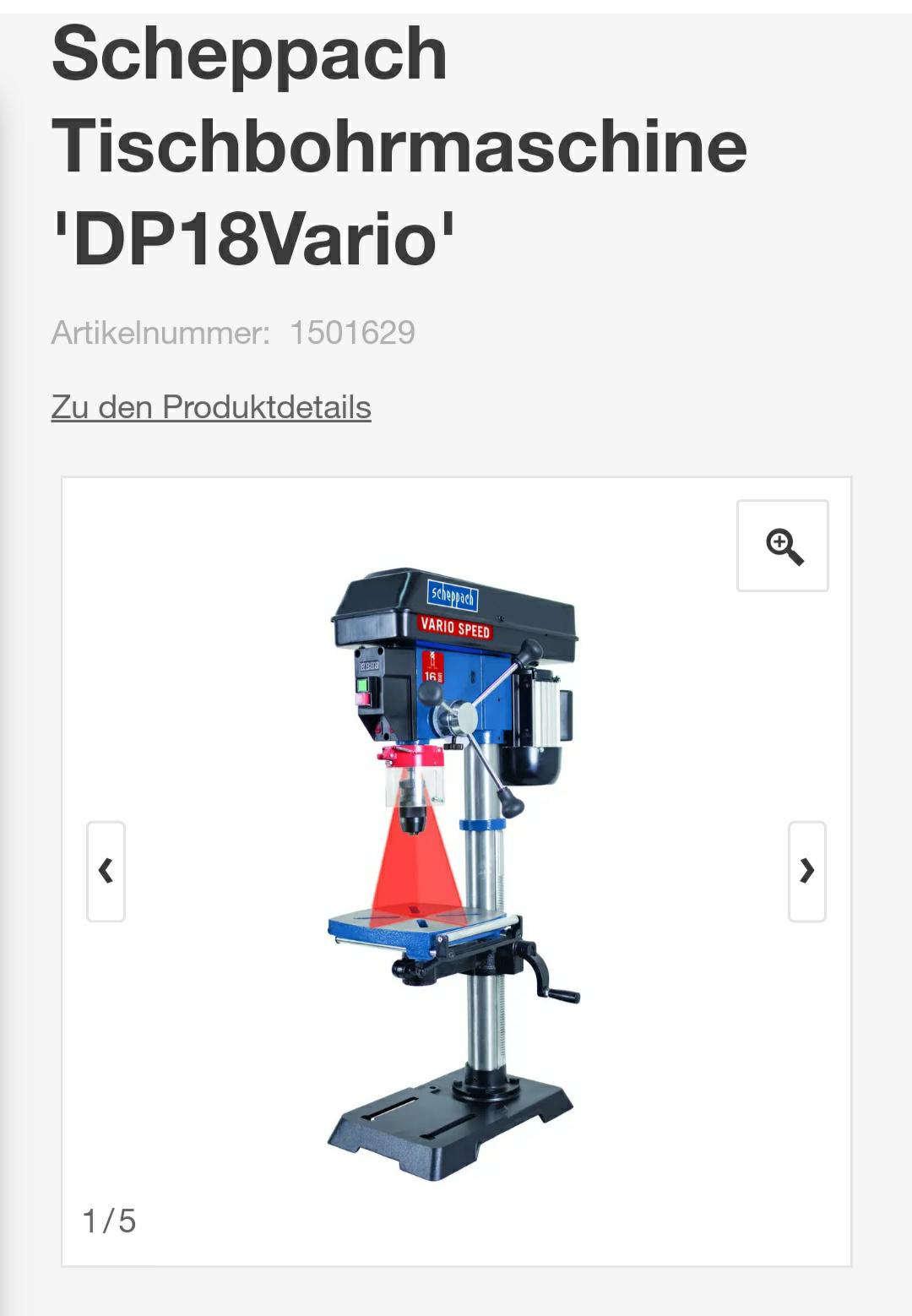 Scheppach Tischbohrmaschine 'DP18Vario'