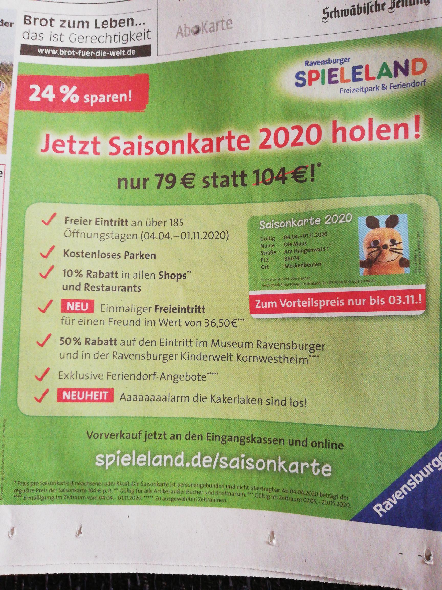Ravensburger Spieleland Saisonkarte 2020