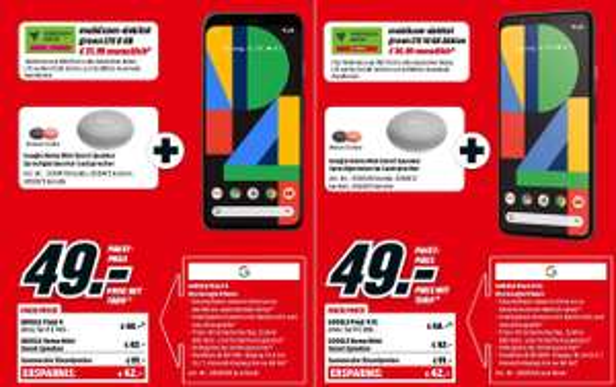 Google Pixel 4 mit Home Mini im Debitel Telekom (8GB LTE) mtl. 31,99€ einm. 49€   Pixel 4 XL im Debitel Vodafone (16GB LTE) mtl. 36,99€