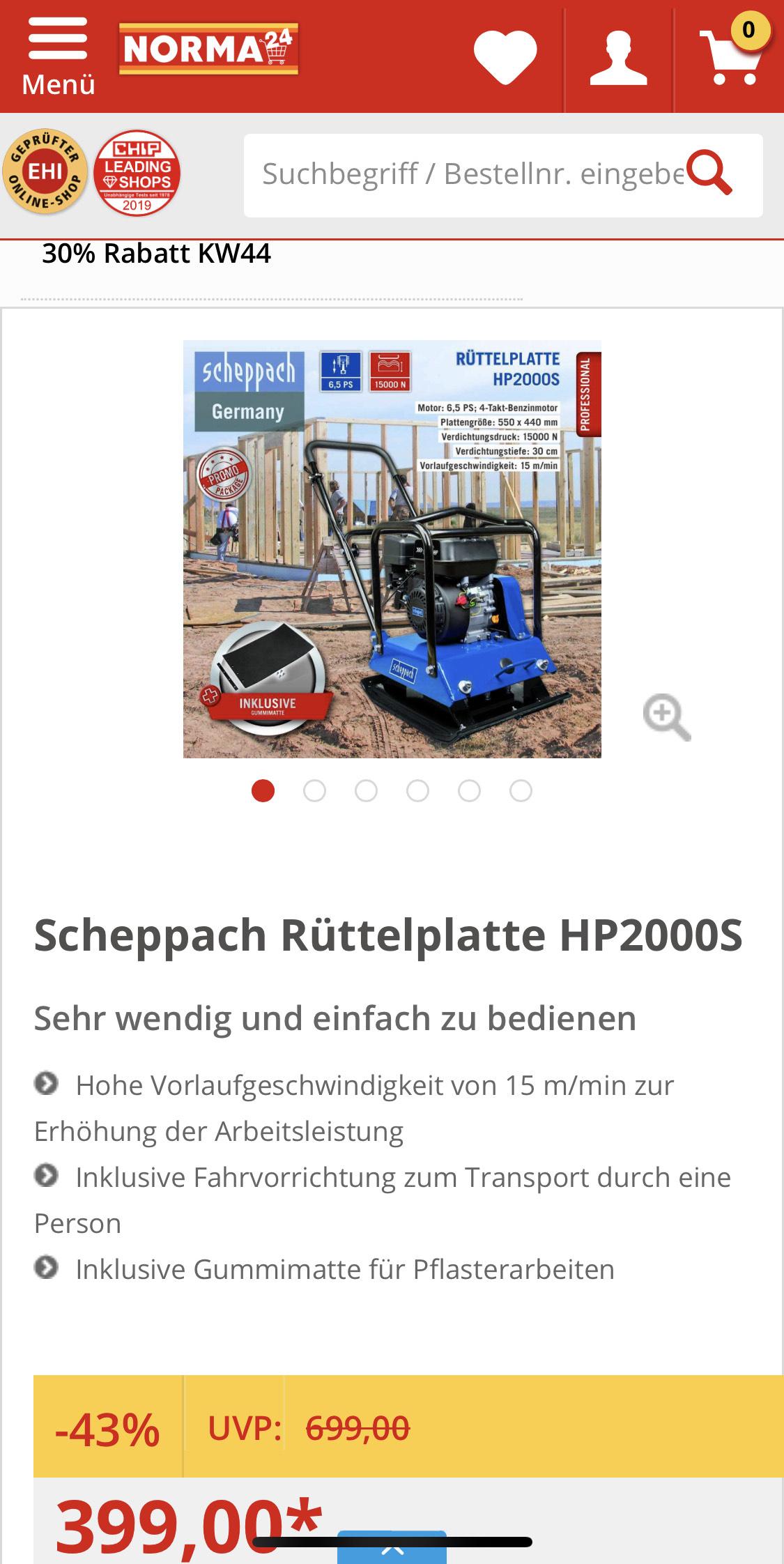 Scheppach Rüttelplatte HP2000S - Statt 433,95 nur 314,25