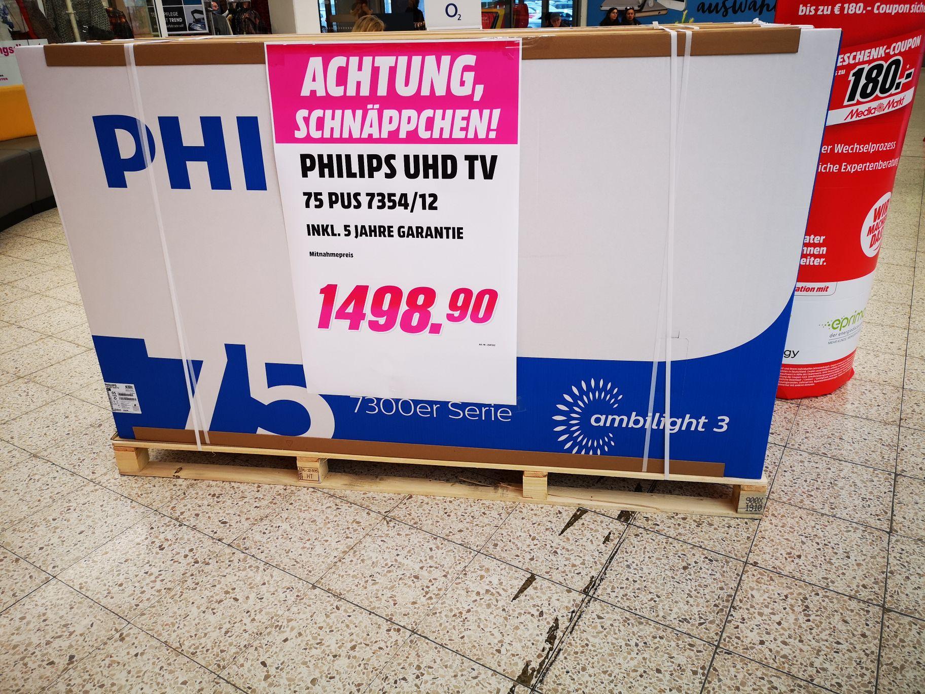 [MM Oststeinbek] Philips 75PUS7345412 für 1498,90 inkl. 5 Jahren Garantie (LED, 3-seitiges Ambilight, Micro Dimming, HDR10+)