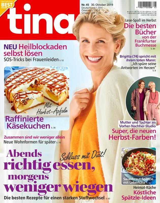 """Zeitschrift """"tina"""" Abo mit 70 EUR Gutschein oder 65 EUR Barprämie"""