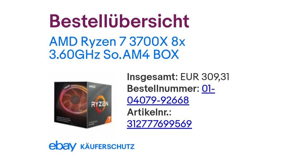 AMD Ryzen 7 3700x CPU - Ebay: mindfactory-city