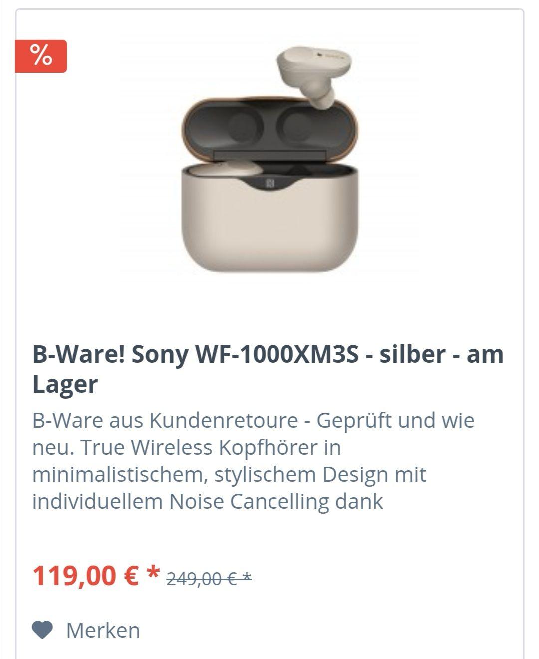 [CB Angebot] Sony WF-1000XM3 Wireless Kopfhörer mit Noise Cancelling B-Ware