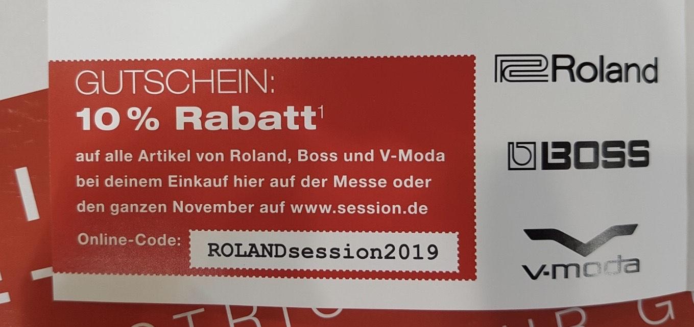 10% auf alle Roland/Boss und PRS Produkte bei session.de, zB. Katana MKII für 323,10 Euro