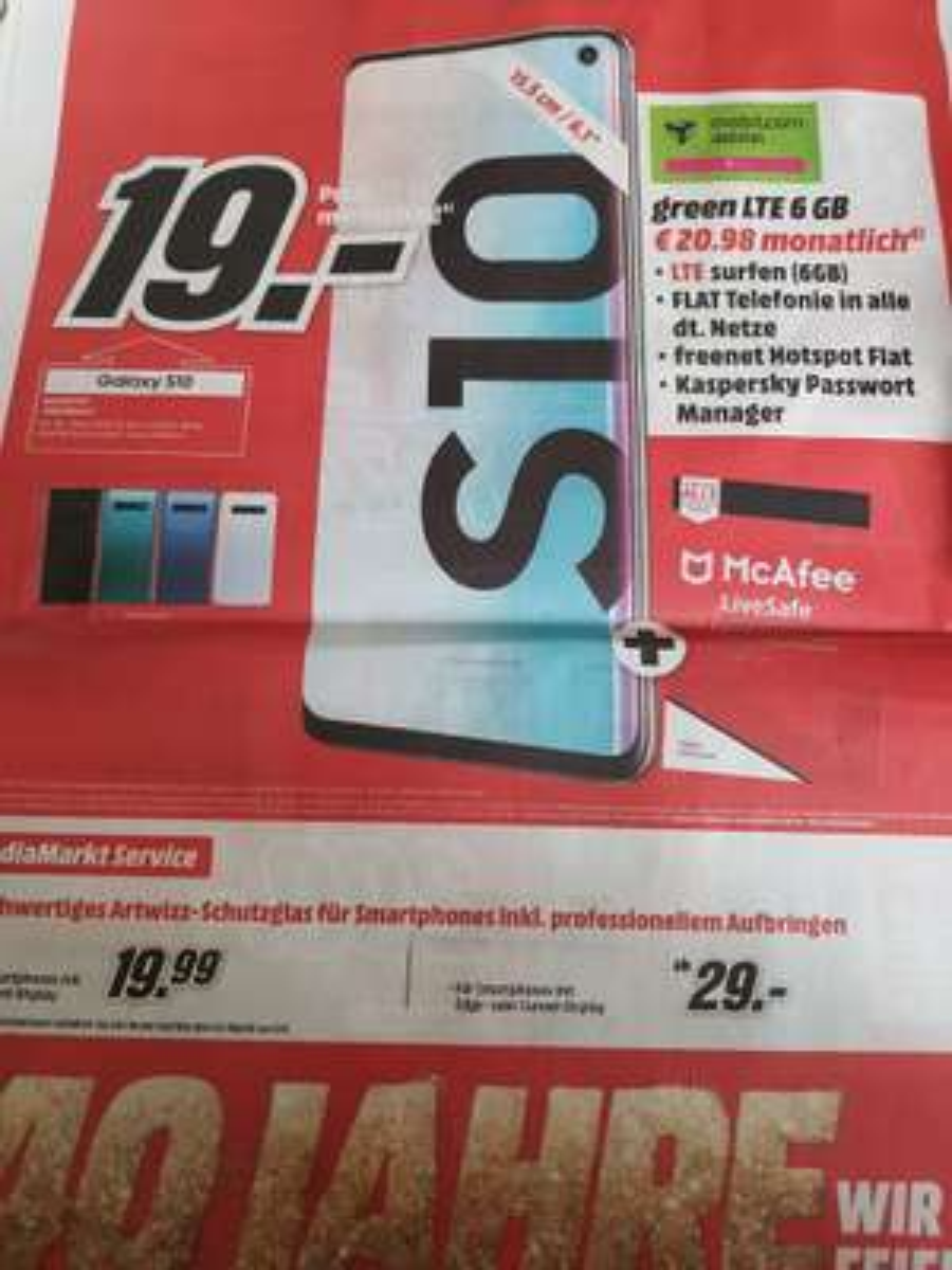 [Lokal Media Markt Lüneburg] Samsung Galaxy s10 Vertrag 6GB LTE mobilcom debitel im Telekom Netz