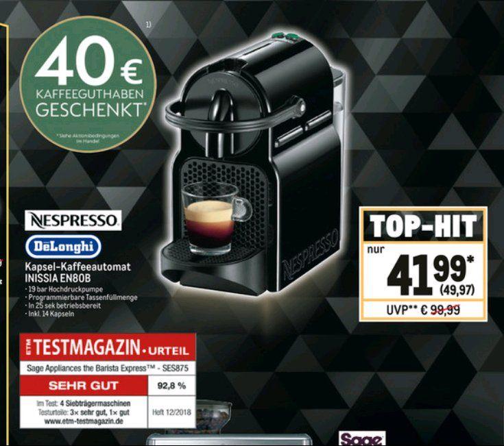 Nespresso DeLonghi Inissia EN80B Kapselmaschine, mit 40€ Kaffeeguthaben, für Gewerbetreibende