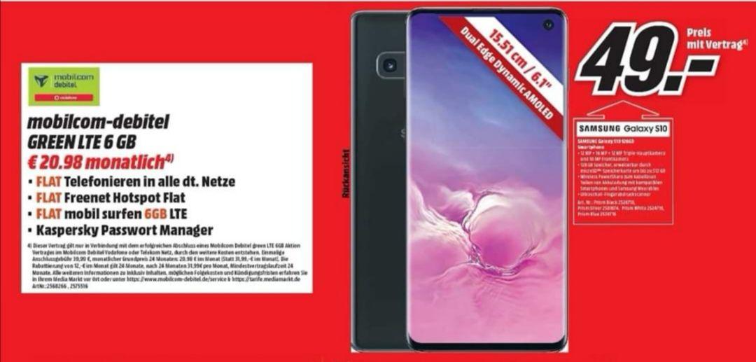 [Lokal Media Markt Dietzenbach] Samsung Galaxy S10 [Debitel Vodafone 6 GB LTE Allnet Flat]mtl 20.98€ Einmalig 49€