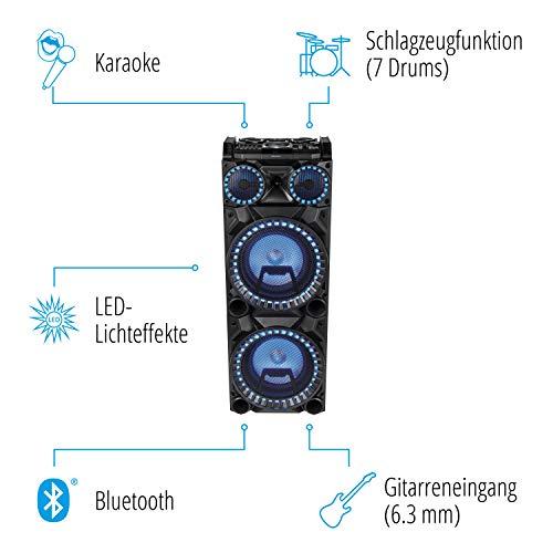 MEDION X64050 Party-Soundsystem mit Mikrofon 1000 WATT Gitarrenanschluss