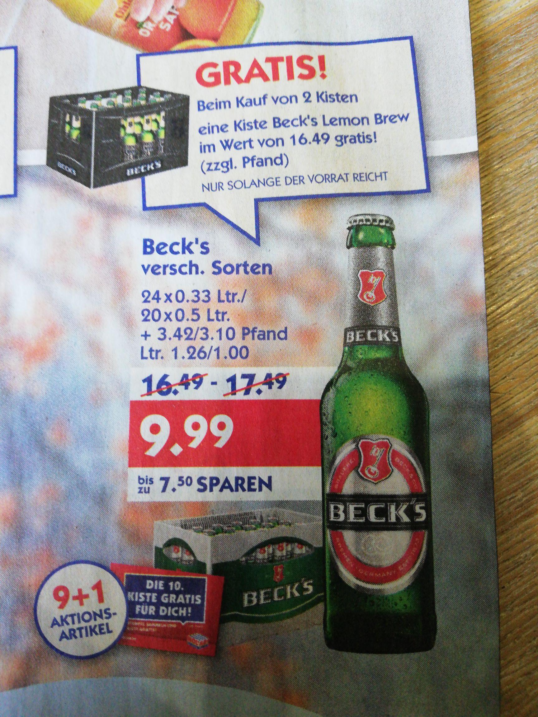 2 Kisten Beck's + Gratis Kiste Beck's Lemon Brew zzgl. Pfand
