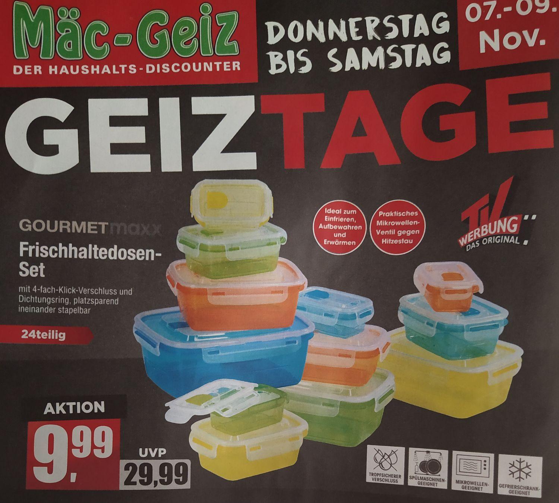 [Mäc-Geiz] GOURMETmaxx Frischhaltedosen-Set 24-teilig bzw. 12 Dosen