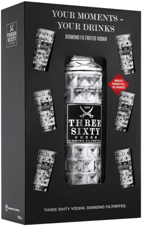 Three Sixty Vodka (3l / 37,5%) und 6 Shotgläser / wieder verfügbar