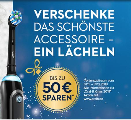 Oral-B XMas Aktion bis zu 50€ *Cashback* sparen auf bestimmte E-Zahnbürsten/Mundduschen