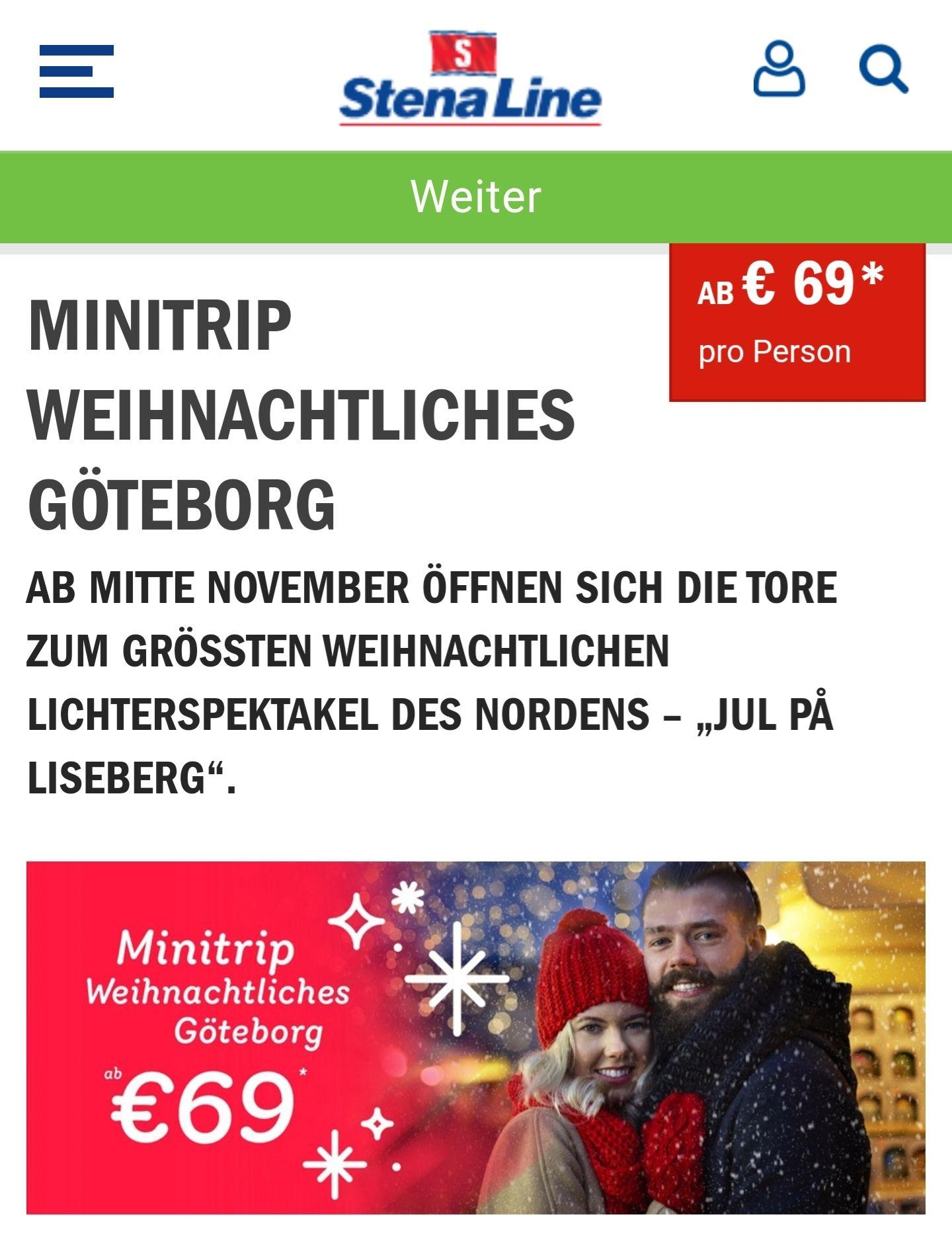 Minitrip mit Stena Line Kiel-Göteborg-Kiel 3Tage ab 69€ p.P.