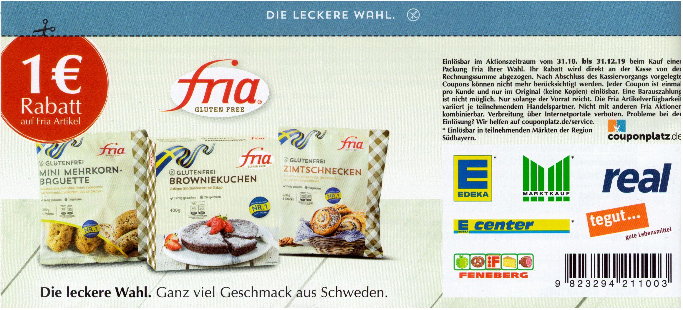 [glutenfrei] Fria gluten free 1€ Rabatt