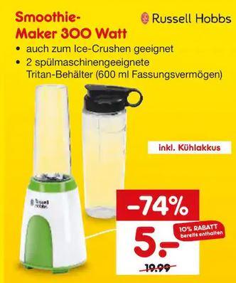 [Lokal - Netto Marken-Discount Bochum, Neuss, Castrop-Rauxel] RUSSELL HOBBS Smoothie Maker, 300 Watt, inkl. 2 Behälter für 5€ ab 5.November