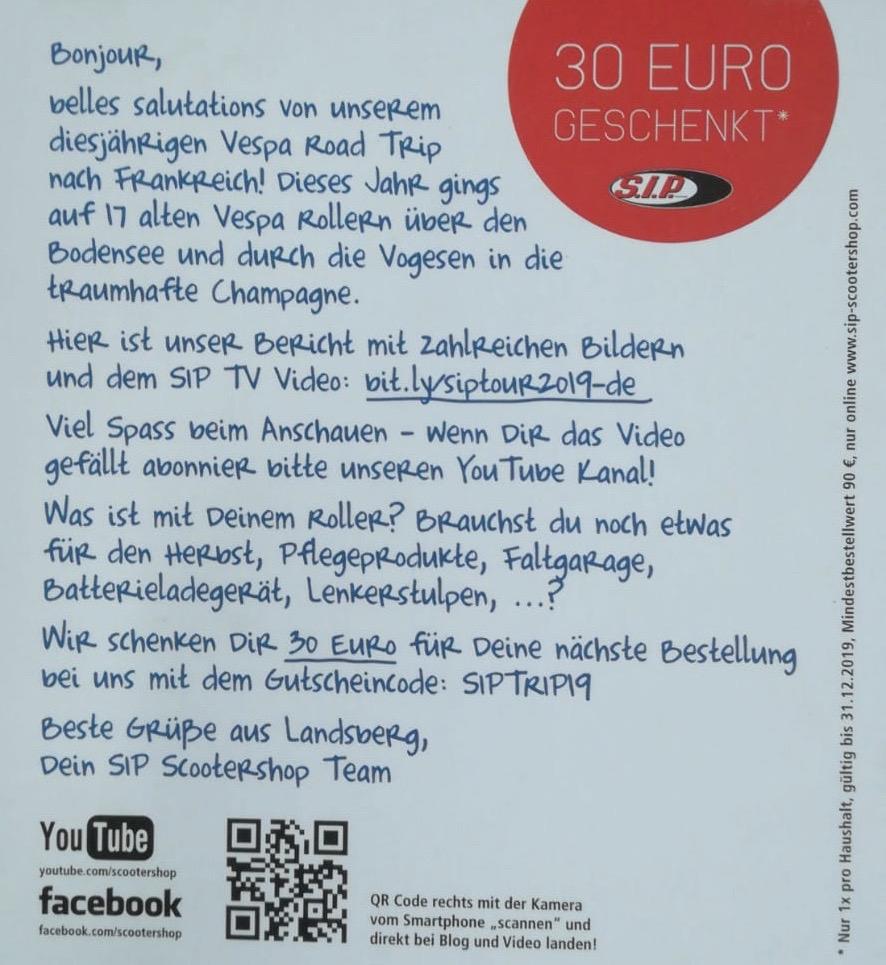 SIP Scootershop - 60€ Rabatt durch 2 Gutscheine. Achtung: MBW 90€