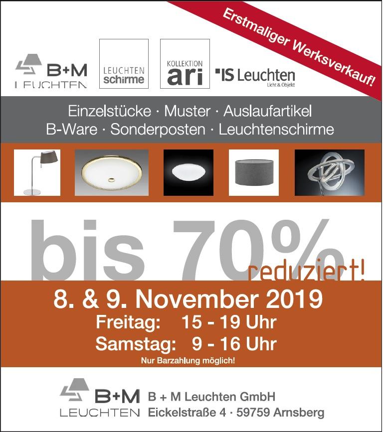 Bis zu 70% beim Werksverkauf B+M Leuchten + IS Kollektion ari im Sauerland (Arnsberg)