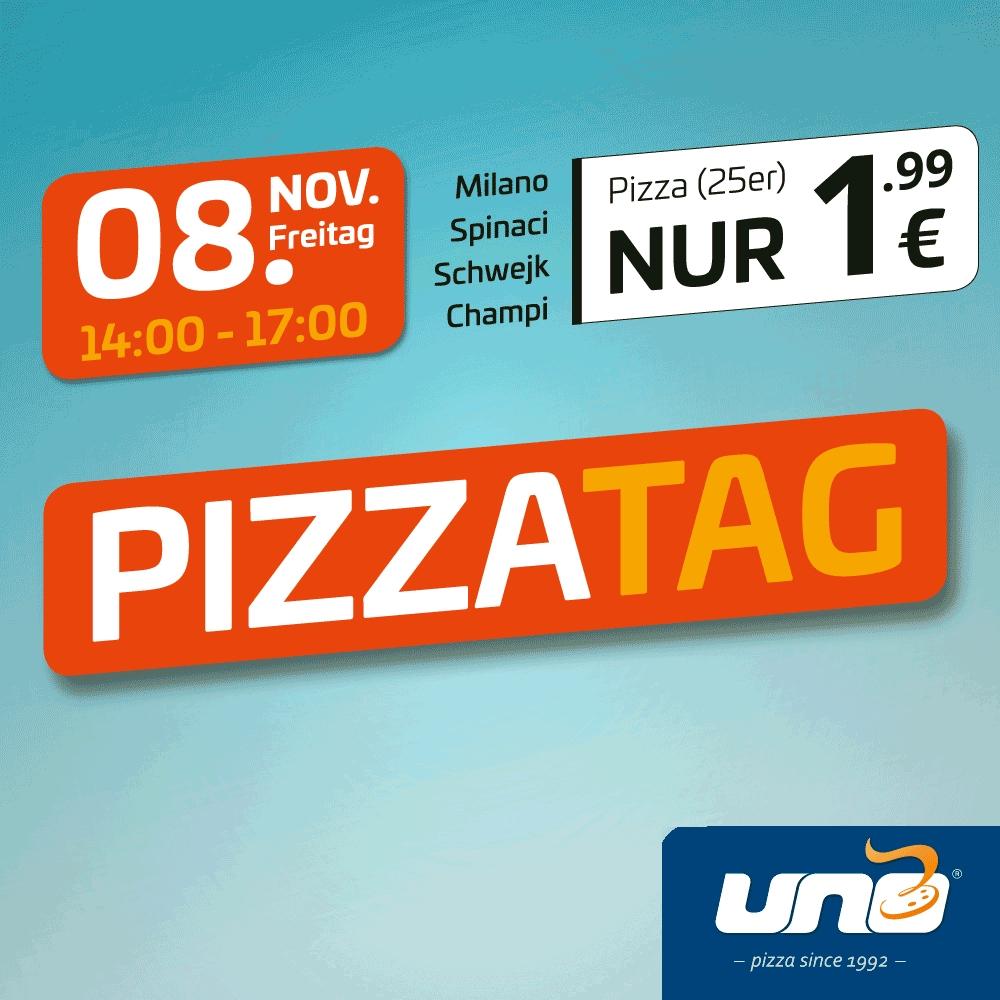 [lokal Magdeburg, Halle, Leipzig, Merseburg] uno Pizza Milano, Spinaci, Schwejk, Champi (25 cm) am Freitag, 8. Nov. von 14-17 Uhr je 1,99 €