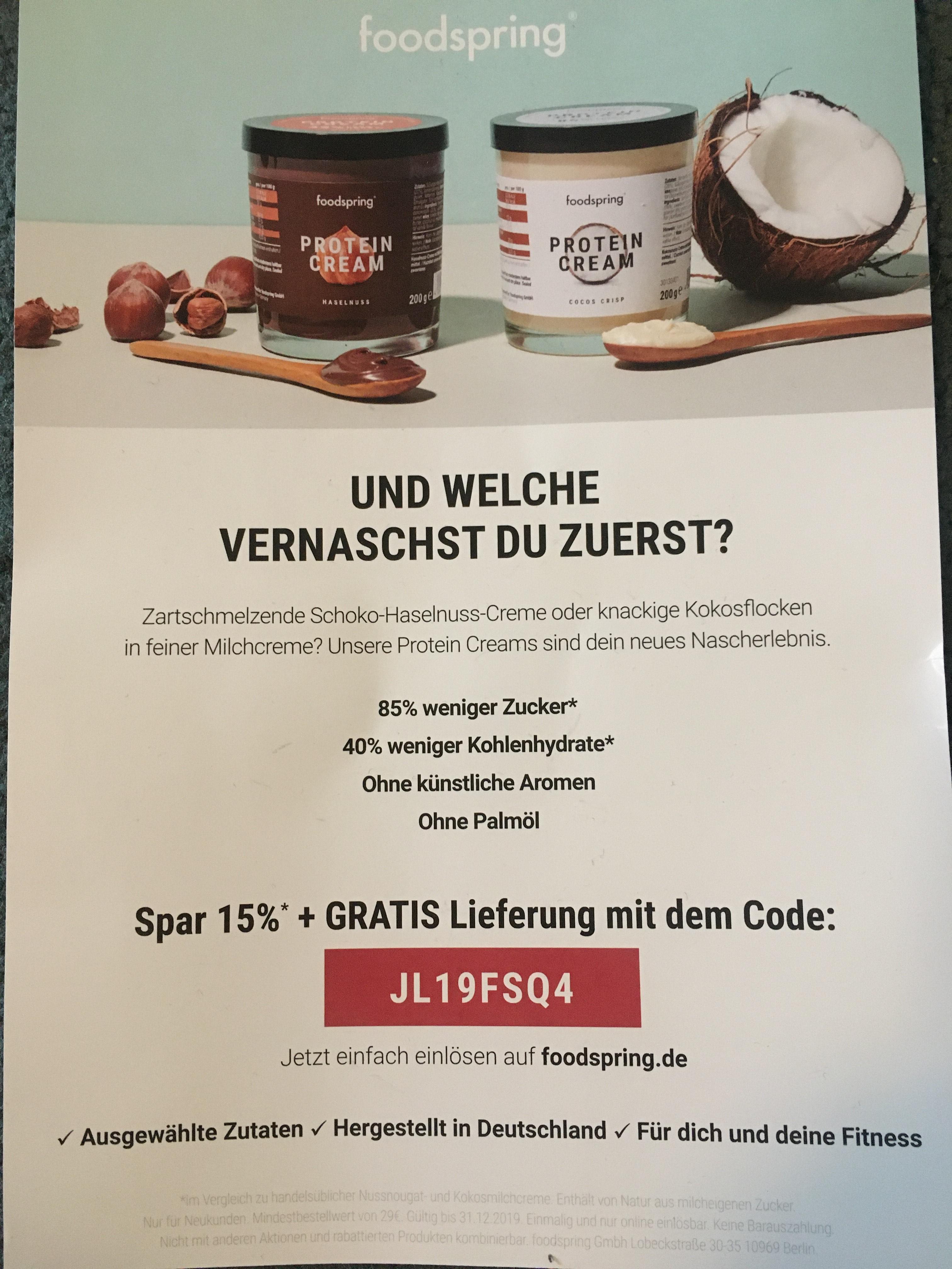 Foodspring Gutschein - 15% Rabatt+ GRATIS Lieferung