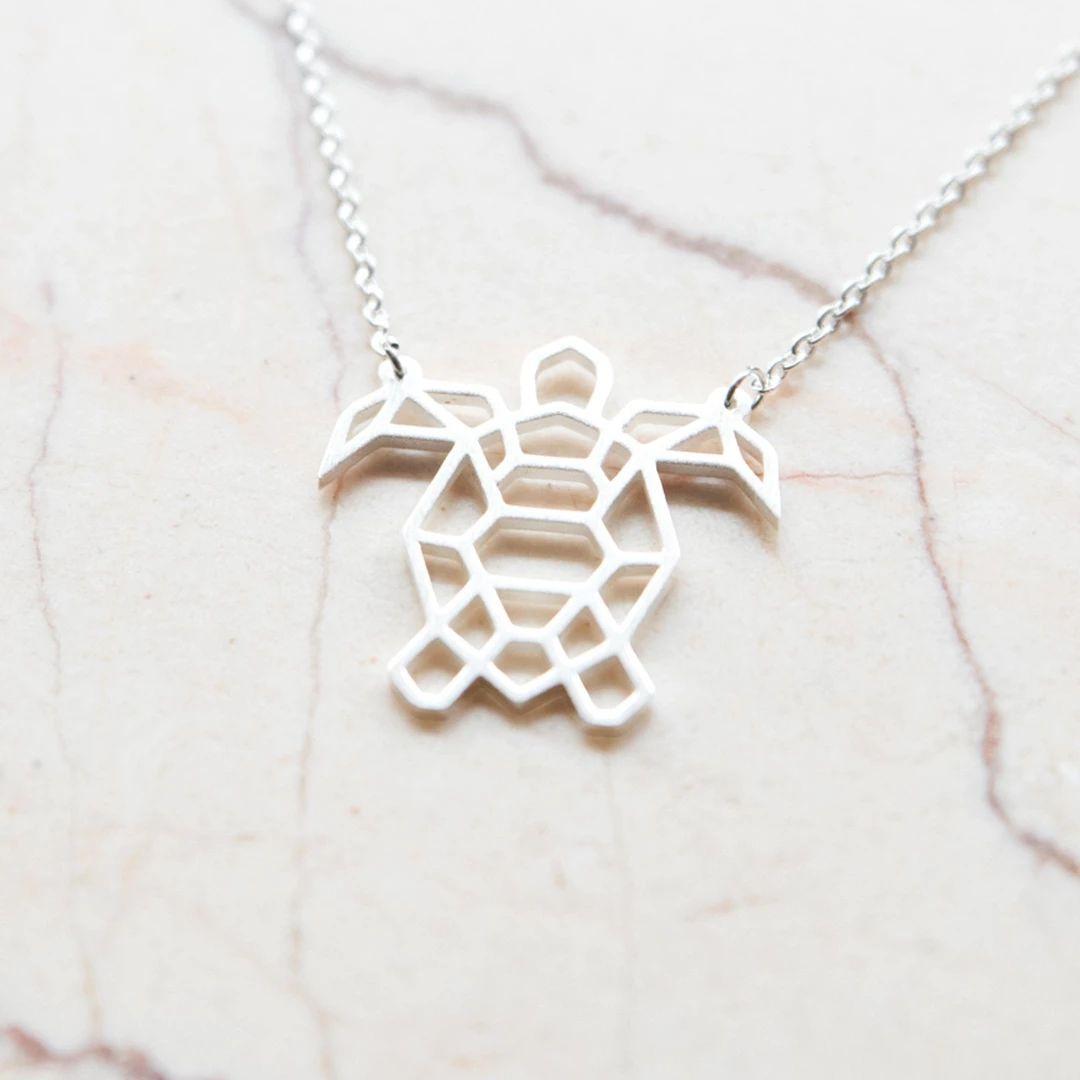 2 Origami Stil Halsketten (Silber/Gold)