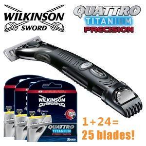 [ibood] Jahresration Nassrassierer mit 25 Klingen Wilkinson Sword Quattro Titanium Precision
