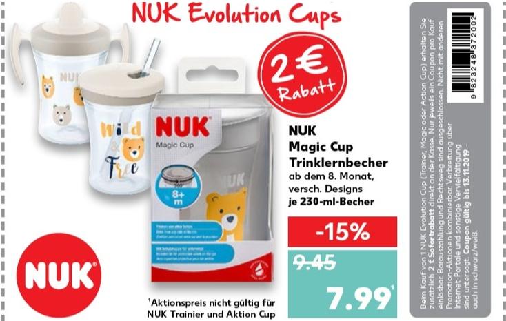 [Kaufland Offline] NUK Magic Cup Trinklernbecher 360° Trinkrand, 230ml, vers. Designs ab 07.11. mit 2€ Gutschein