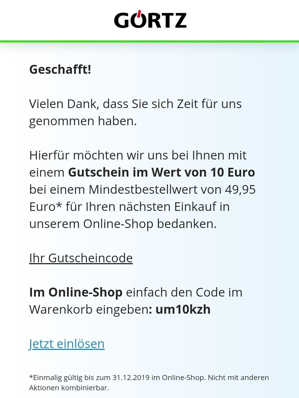 Görtz 10 € Rabatt bei 49,95 € MBW (individualisiert?)